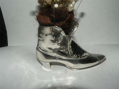 ANTIQUE ENGLISH SILVERPLATE VICTORIAN HIGHTOP SHOE BOOT  PIN CUSHION MARKED J B