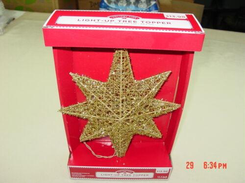 NIB Light up Gold Tree Topper Star Unused Holiday Time Christmas Festive Decor