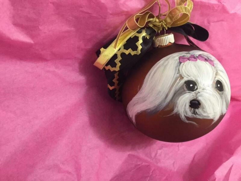 TWO MALTESE HAND PAINTED CHRISTMAS GLASS ORNAMENTS