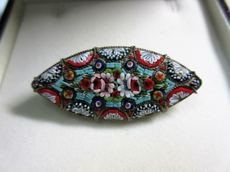 Antique ITALIAN MICRO MOSAIC Flower decorated BROOCH, PIN - R.M Italy!