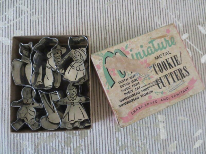 Vintage Miniature Metal Cookie Cutters Set in Box