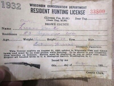 1932  Wisconsin Resident Hunting Paper License issued in Brown  County  33800 >