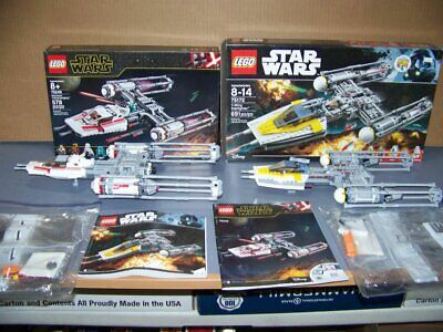 LEGO STAR WARS #75249 & 75172 - Y-WING FIGHTERS  -100% COMP - NO FIGURES - NEW!