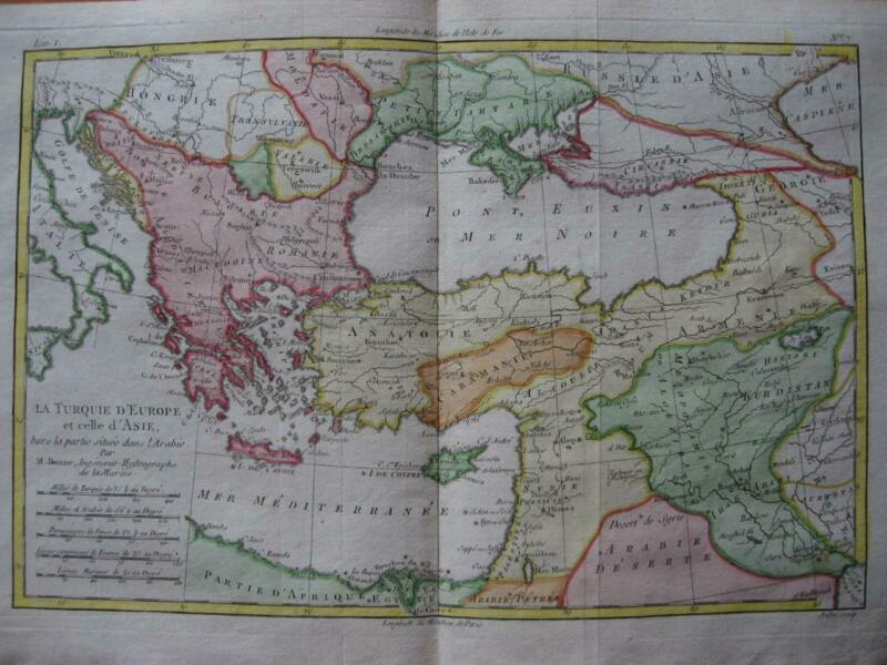 1780 - BONNE - MAP GREECE  BALKANS TURKEY ARMENIA CYPRUS  BLACK Sea