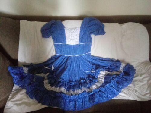 Square Dance Dress Blue Western Favorite Scalloped Ruffles & Lace -Medium