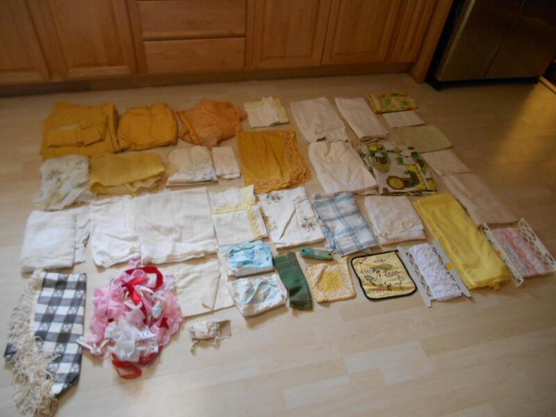 Old Vtg Large Lot LINENS TEXTILES CURTAINS DRAPES TOWELS TABLECLOTHS Estate Buy