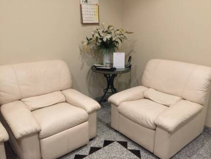 White leather Sofa - one three seats and two single seat