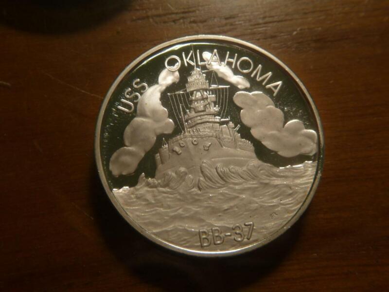 USS Oklahoma BB37 Pearl Harbor Hawaii #0647 1oz 0.999 Silver Proof  SKU# 23306