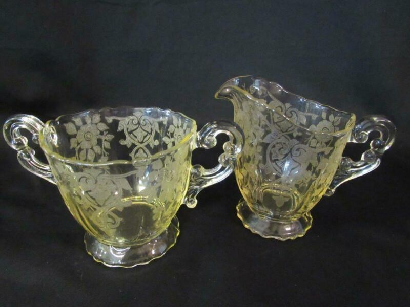 Cambridge Glass Apple Blossom Gold Krystol / Yellow Etched Creamer & Sugar