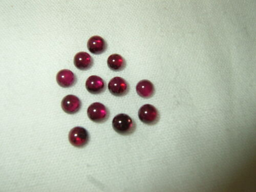 OLD STOCK Lot of 12 Small Round Burgundy/Red Garnet Cabochons 3.5-4mm