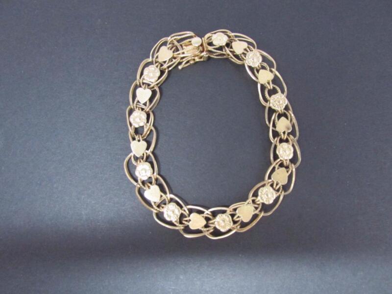 14k Solid Gold Double Charm Link Bracelet Hallmark 14k  9.81 Grams 7 Inches