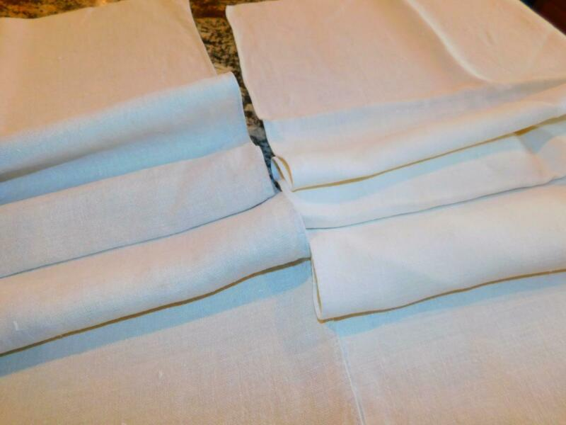 2 Antique HOMESPUN LINEN TOWEL RUNNERS Handmade Fabric Ecru 19x42 21x41 Lanc Co