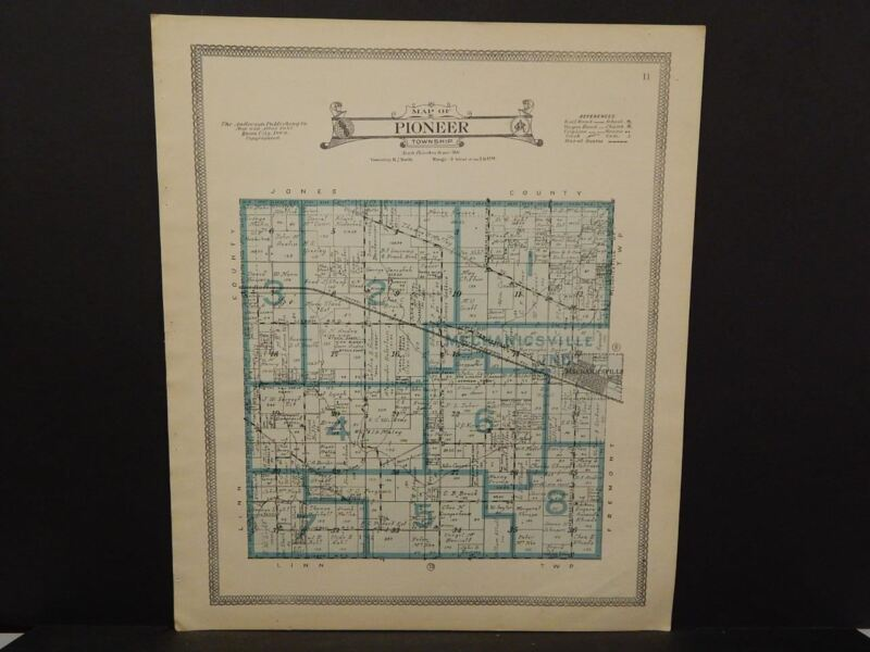 Iowa Cedar County Map Pioneer Township  1916   J14#15