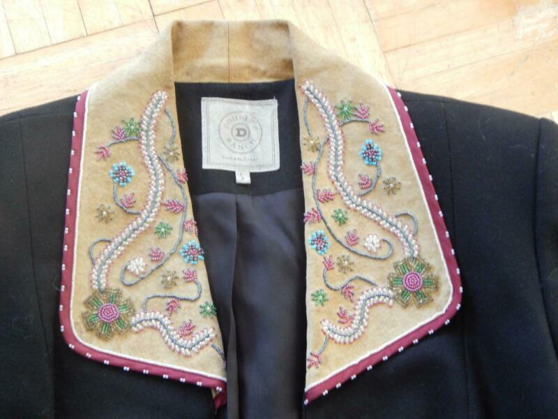 DOUBLE D RANCH WESTERN COWGIRL WOOL JACKET BEADED LEATHER COLLAR + CUFFS - LINED