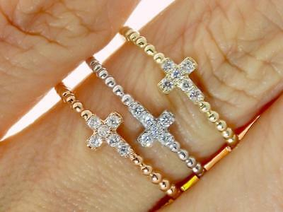 14K WHITE GOLD DIAMOND CROSS ETERNITY WEDDING ANNIVERSARY PROMISE PURITY RING