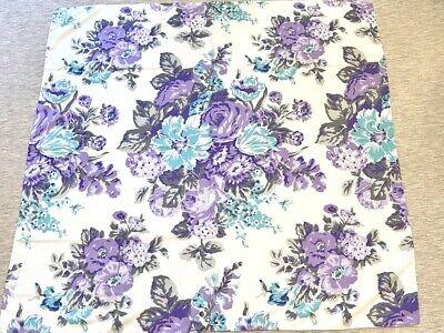 Vintage MCM Italian Handkerchief Scarf Purple Aqua Roses Floral Glentex