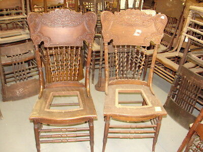 (#61 - 2 Antique Pressed Back Chairs w/Rope Twist Spindles - Restoration - GREAT)