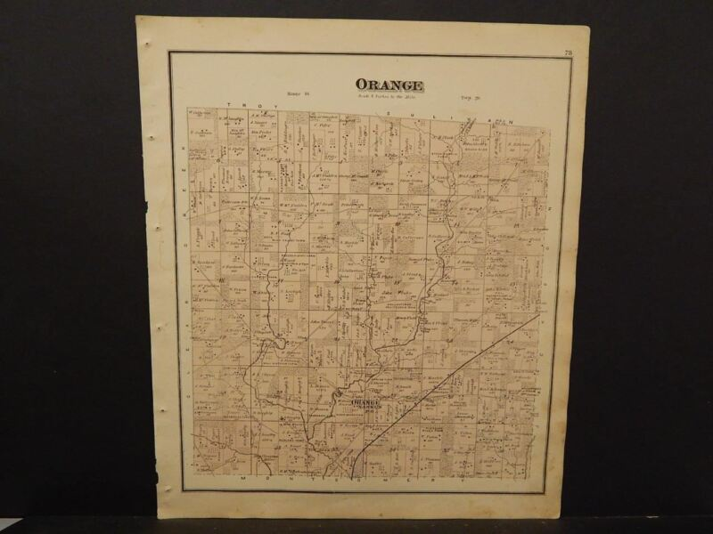 Ohio Ashland County Map Orange  Township 1874  L9#42