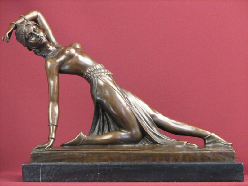 SIGNED BRONZE STATUE ART DECO HANDCRAFTED DETAILED DANCER SCULPTURE ON MARBLE
