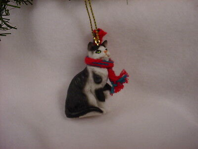 BLACK WHITE CAT With Scarf Ornament HAND PAINTED Resin Figurine CHRISTMAS Kitty - $8.95
