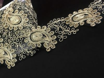 Gold Fancy Sequin Lace Trim Bridal Wedding Ribbon Craft NET Border 1 yard x 5cm Fancy Lace Trim