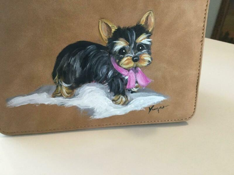 YORKIE PUPPY HAND PAINTED  GREAT MINI PURSE/ ORGANIZER