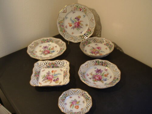 6 PC SET OF SCHUMANN CHATEAU DRESDEN PIERCED CHARGER DINNER LUNCH SALAD & MORE