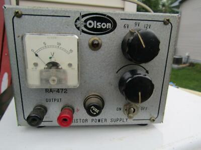 Transistor Power Supply Ra 472 6-9-12 Vdc Olson Tested Working Vintage