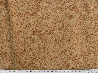Drapery Upholstery Fabric Bird & Flower Silhouettes on Vintage Linen - Copper