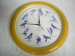 Vintage National Audubon Society Bird Singing Wall Clock 13 Works Great