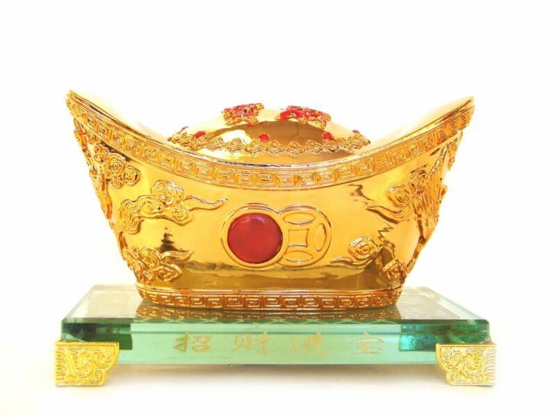 "6"" Golden Feng Shui Ingot with Crystal Base"