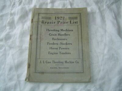 1922 Case Farm Equipment Repair Parts Price List Catalog