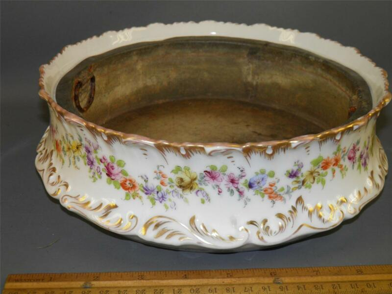 ANTIQUE DRESDEN HAND PAINTED FLORAL PLANTER  GOLD ROSE MARK 10