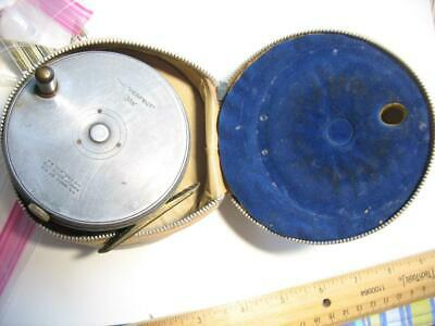"""Hardy Perfect 3-5/8"""" Old fly fishing reel & pouch ENGLAND"""