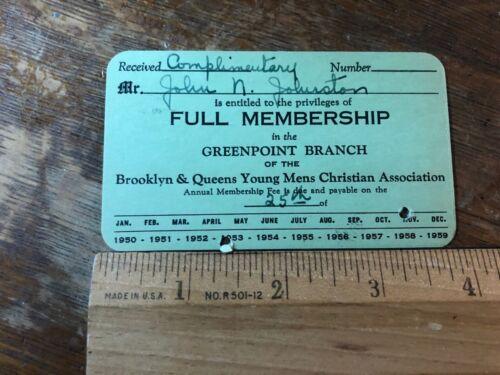 Brooklyn New York YMCA Young Mens Christian Association 1953 Membership Card