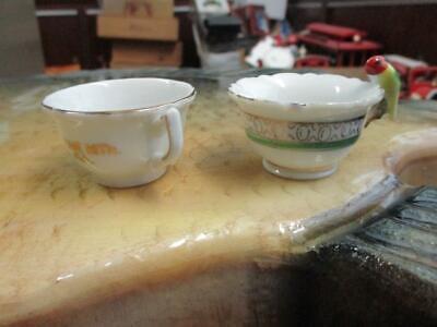 BEAUTIFUL COMMEMORATIVE UNBRANDED MINIATURE CHINA TEA/SAKE CUPS GOLD TRIM