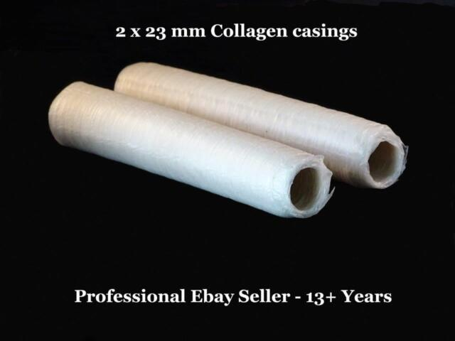 Sausage Casings Collagen - 2 x 23 mm Butcher Quality & FREE Gift E- Manuals