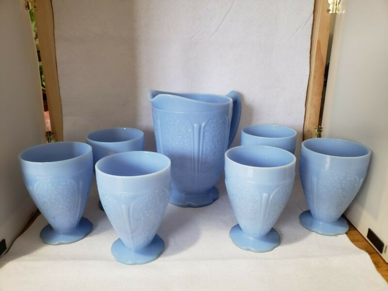 Vintage Jeannette Blue Opaque Delphite Cherry Blossom Pitcher and 6 Tumblers