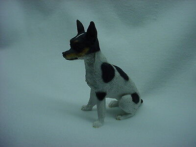RAT TERRIER Dog Figurine HAND PAINTED Statue Puppy NEW resin canine COLLECTIBLE