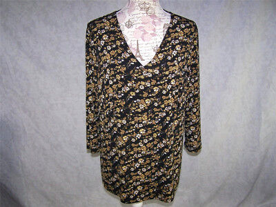New Additions Maternity Top Shirt Large Stretch 3/4 Sleeve Black Brown Yellow