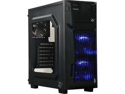 Gaming Blu LED steel mid tower PC case do it yourself blizzard leet computer set