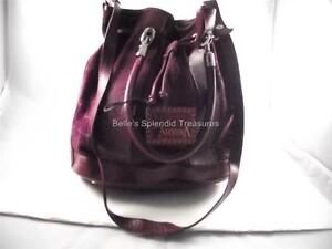 VALENTINA MADE IN ITALY HOBO  BURGUNDY  DRAW STRING BAG LEATHER  NEW WITH TAGS