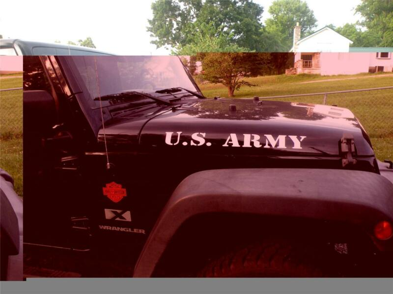 """US ARMY 2 pc HOOD DECAL SET """"ANY COLOR"""" VINYL CAR TRUCK WINDOW DECAL STICKER"""