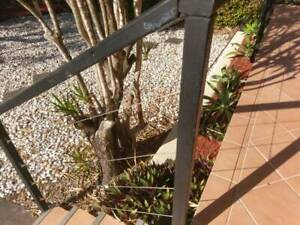 Porch Hand Railing with Wire Steel Post and steel brackets