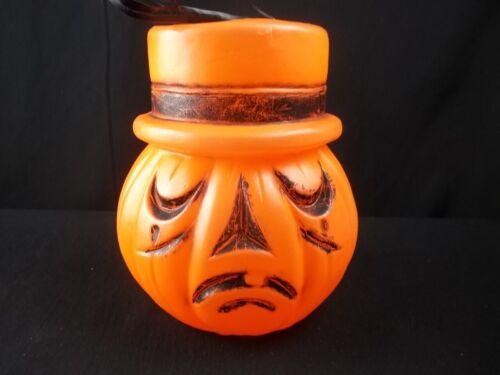 Vintage Halloween Pumpkin Bucket Candy Pail Top Hat 2 Faces