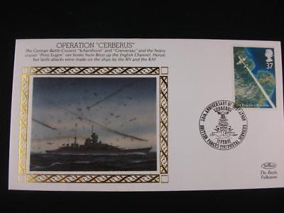 """Benham Small Silk Stamp Cover  'Operation """"Cerberus""""'  from  WW 2 series issue"""