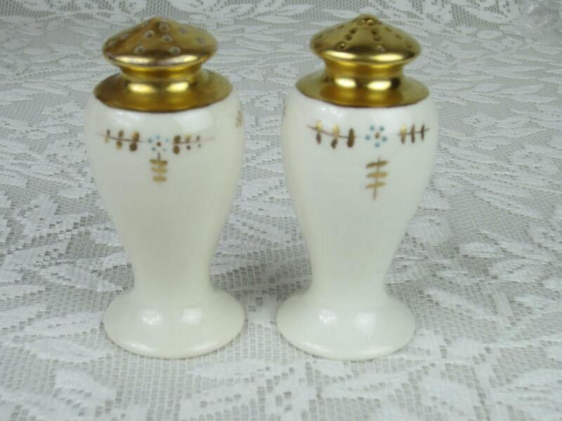*Early Lenox American Belleek Mark Salt, Pepper Set - Vintage Cream Fine China