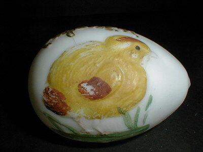 Victorian Hand Blown Milk Glass Yellow Baby Chick Chicken Easter Egg 1890s