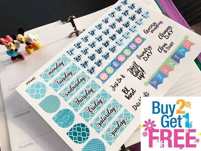 PP442 -- Mermaid Set Blue Date Covers Planner Stickers for Erin Condren (58pcs)](Mermaid Stickers)