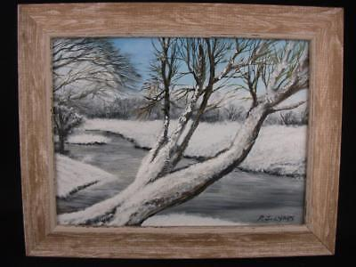 "Original Oil painting 'Winter Covering' on MDF board 8"" x 6"", framed, Phil Lynes"